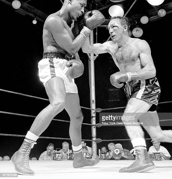 Carmen Basilio attacks during his middleweight bout with Sugar Ray Robinson Basilio won a 15round split decision