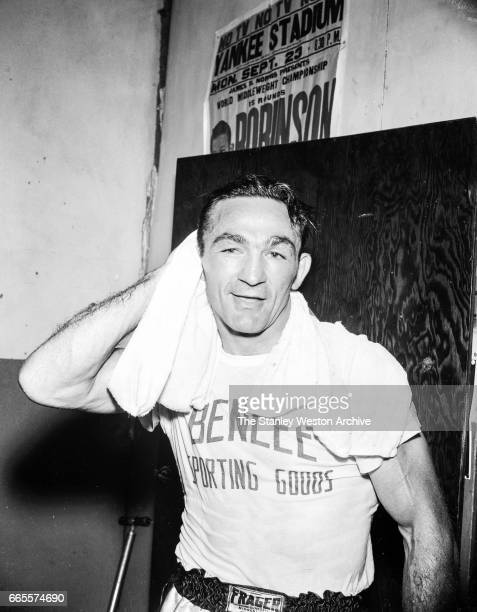 Carmen Basilio training in Alexandria Bay New York 1957
