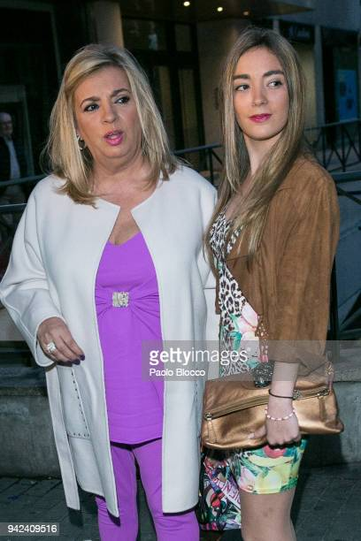 Carmen Borrego and her daughter Carmen Rosa Almoguera arrive at the Alejandra Rubio 18th birthday party at Gabana Club on April 5 2018 in Madrid Spain