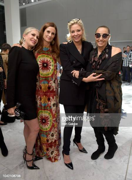 Carmen Busquets Livia Firth Nadja Swarovski and Donna Karan attend The EcoAge Commonwealth Fashion Exchange US Debut presented by Swarovski The...