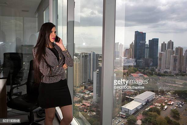 Carmen calling from her office in a trading company located in a tower of the business district she is photographed for Paris Match on april 07 2016...