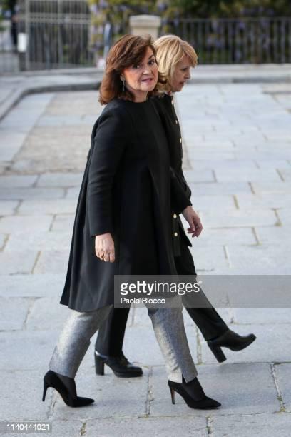 Carmen Calvo arrived at a memoriam funeral for Jose Pedro PerezLlorca Rodrigo at San Jeronimo El Real Church on April 04 2019 in Madrid Spain