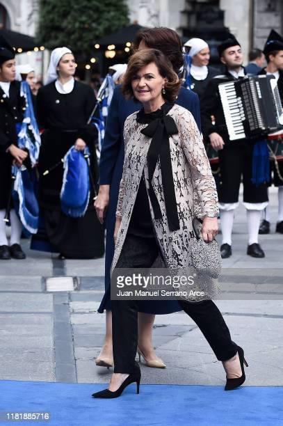 Carmen Calvo arrives to the Campoamor Theatre ahead of the 'Princesa de Asturias' Awards Ceremony 2019 on October 18 2019 in Oviedo Spain