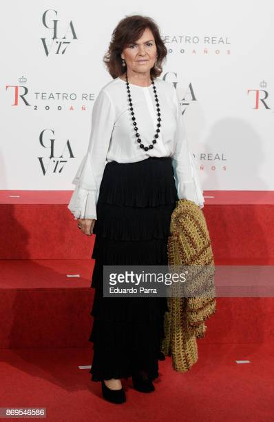 Carmen Calvo attends the '20th anniversary gala' photocall at Royal Theatre on November 2 2017 in Madrid Spain