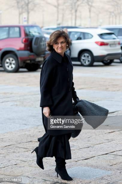Carmen Calvo attends the funeral chapel for Princess Pilar of Spain at Monasterio de El Escorial on January 29 2020 in El Escorial Spain