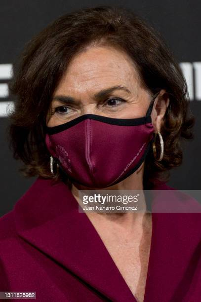 Carmen Calvo attends Ulises Merida fashion show during the Merecedes Benz Fashion Week April 2021 edition at Ifema on April 10, 2021 in Madrid, Spain.