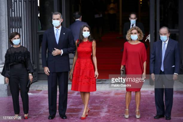 Carmen Calvo King Felipe VI of Spain Meritxell Batet and Queen Letizia of Spain attend the Royal Theatre season inauguration on September 18 2020 in...