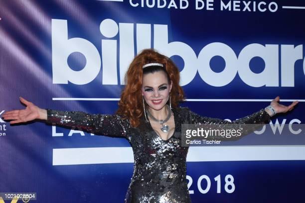 Carmen Campuzano poses for photos during Billboard Latin Music Showcase read carpet at Palacio de Los Deportes on August 17 2018 in Mexico City Mexico