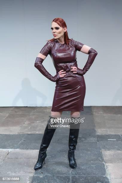 Carmen Campuzano walks the runway during the Ziutika show at MercedesBenz Fashion Week Mexico Autumn/Winter 2017 at Ex Convento De San Hipolito on...