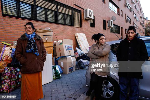 Carmen Carmona 46 yearold and Pilar Amador Navarro 65year and Antonio Carmona 15 year old stare next to their belonglings after been evicted in...