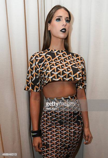 Carmen Carrera at first look backstage at the Geoffrey Mac For Sharon Needles Show during MercedesBenz Fashion Week Fall 2014 at The Out NYC on...