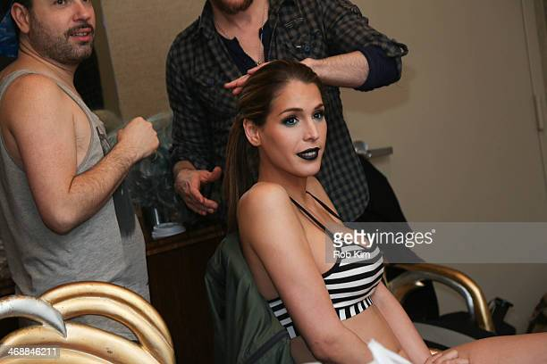Carmen Carrera at hair and makeup backstage at the Geoffrey Mac For Sharon Needles Show during MercedesBenz Fashion Week Fall 2014 at The Out NYC on...