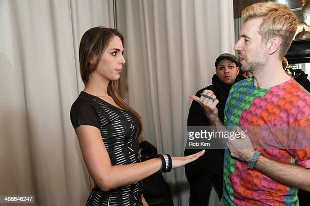 Carmen Carrera backstage at the Geoffrey Mac For Sharon Needles Show during MercedesBenz Fashion Week Fall 2014 at The Out NYC on February 11 2014 in...