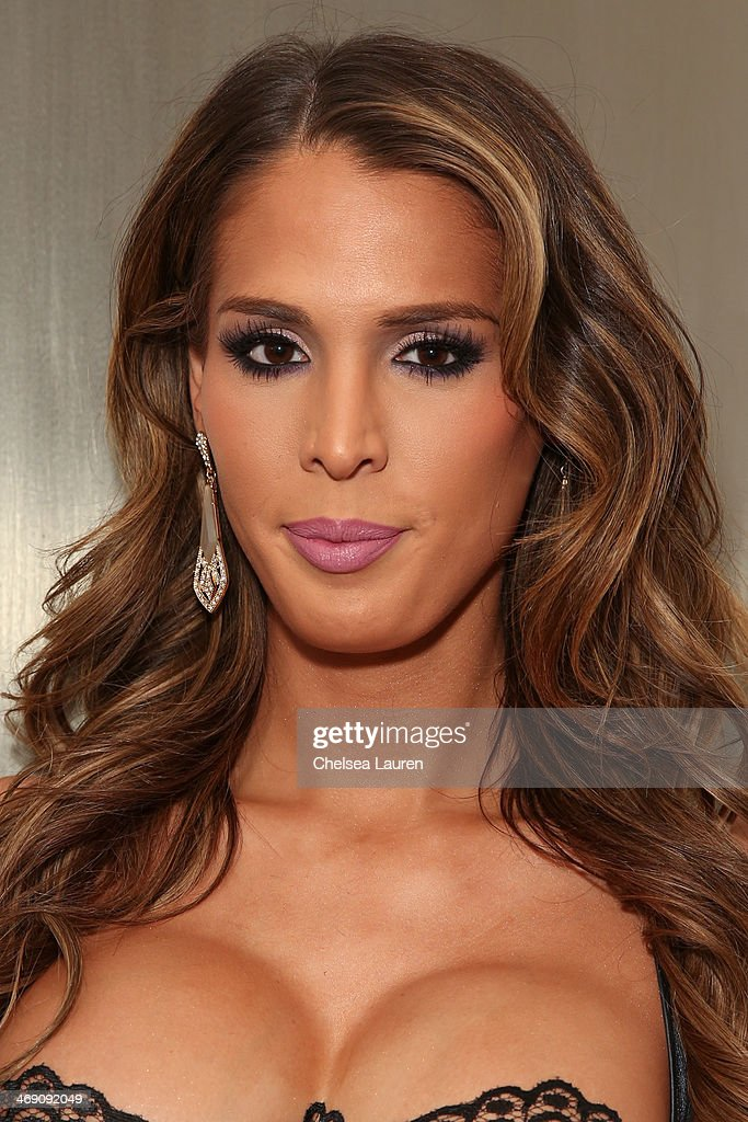 Carmen Carrera backstage at the The Blonds fashion show during MADE Fashion Week Fall 2014 at Milk Studios on February 12, 2014 in New York City.