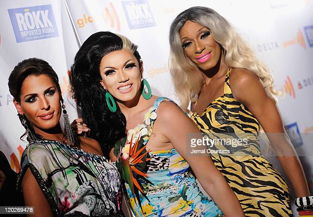 Carmen Carrera Manilla Luzon and Sahara Davenport attend the GLAAD Manhattan Brazilian Carnival at 230 Fifth Avenue on August 2 2011 in New York City