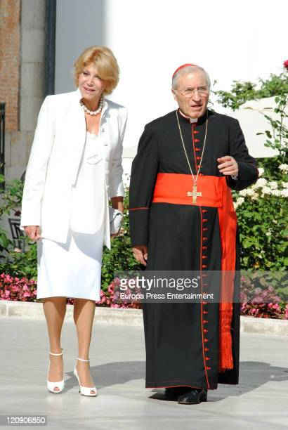 Carmen Cervera and cardinal Rouco Varela attend at the opening of the exhibition Encuentros at Museo Thyssen on August 11 2011 in Madrid Spain