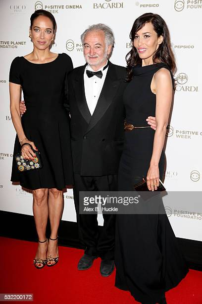 Carmen Chaplin Jacques Attali and Dolores Chaplin attend the Planet Finance Foundation Gala Dinner during the 69th annual Cannes Film Festival at...