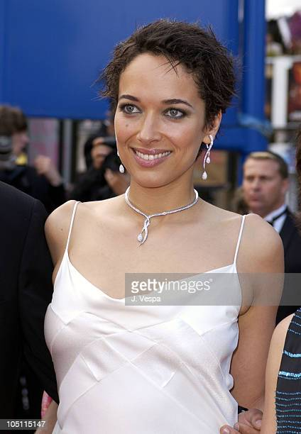 Carmen Chaplin wearing jewelry by Chopard during 2003 Cannes Film Festival Closing Ceremony Arrivals at Palais des Festivals in Cannes France