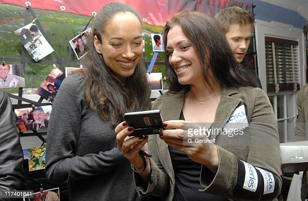Carmen Chaplin with a Nokia representative during 14th Annual Hamptons International Film Festival Private 'Rising Stars' Brunch at The Maidstone...