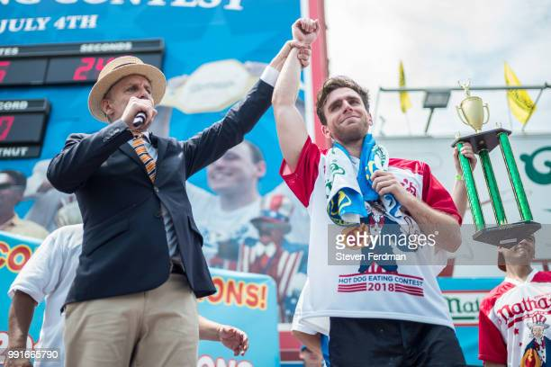 Carmen Cincotti earns second place after eating 64 hot dogs in the 2018 Nathan's Hot Dog Eating Contest on July 4 2018 in the Coney Island...