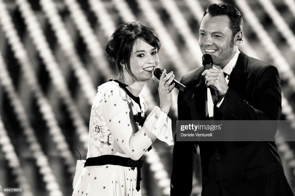 Carmen Consoli and Tiziano Ferro attend the opening night of the 67th Sanremo Festival 2017 at Teatro Ariston on February 7, 2017 in Sanremo, Italy.
