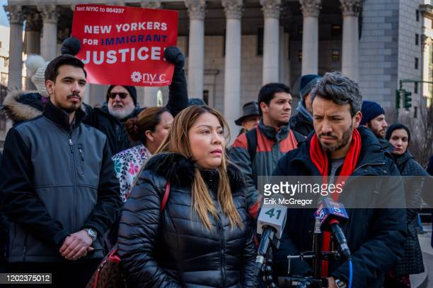 Carmen Cruz mother of Erick DíazCruz who was shot in the cheek by ICE agents at his familys Brooklyn home Immigration advocates community...