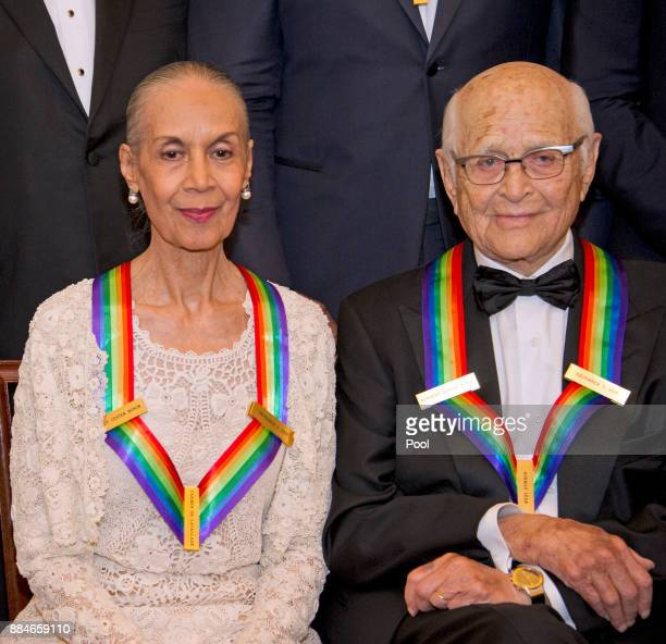 Carmen de Lavallade left and Norman Lear two of the five recipients of the 40th Annual Kennedy Center Honors as they pose for a group photo following...