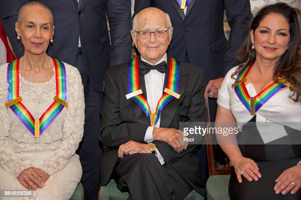 Carmen De Lavallade left Norman Lear center and Gloria Estefan right three of the five recipients of the 40th Annual Kennedy Center Honors as they...