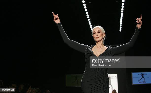 Carmen Del Orefice walks the runway at the Fashion for Relief fashion show with proceeds going to aid Hurricane Katrina victims during Olympus...