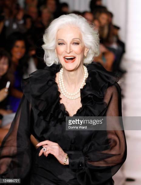 Carmen dell'Orefice attends the Evening Sherri Hill Spring 2012 fashion show during MercedesBenz Fashion Week at Trump Tower Grand Corridor on...
