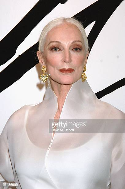 Carmen Dell'Orefice attends the launch of David Downton's exhibition supported by Top Shop at the London College of Fashion's Fashion Space Gallery...
