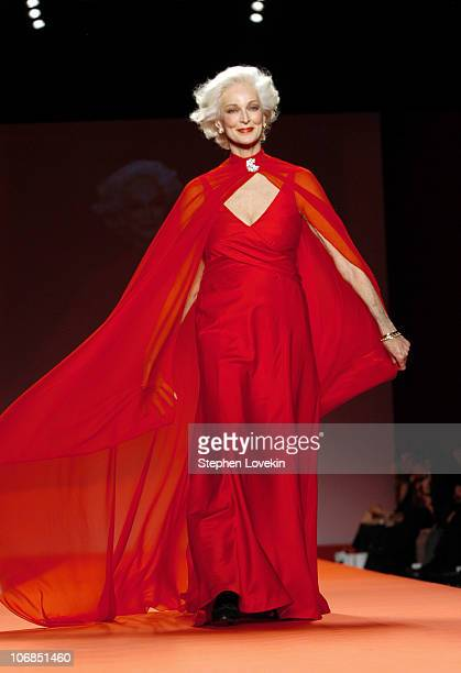 Carmen Dell'Orefice during Olympus Fashion Week Fall 2005 Heart Truth Red Dress Collection Backstage and Runway at The Tent Bryant Park in New York...