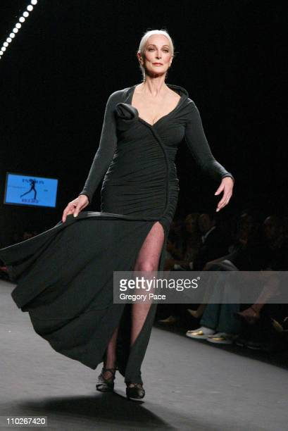 Carmen Dell'Orefice during Olympus Fashion Week Spring 2006 Fashion For Relief On the Runway at Bryant Park in New York City New York United States