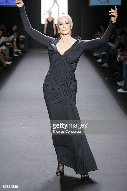 Carmen Dell'Orefice models during the Fashion For Relief charity runway event in Bryant Park New York City on September 16 2005 The celebrity fashion...