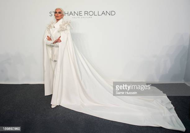 Carmen Dell'Orefice poses backstage at the Stephane Rolland Spring/Summer 2013 HauteCouture show as part of Paris Fashion Week at Palais De Tokyo on...