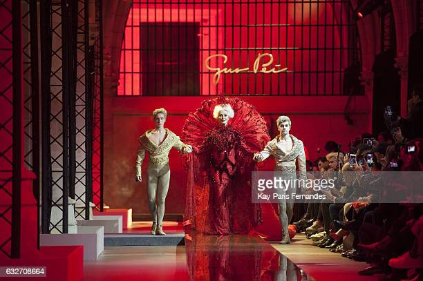 Carmen Dell'Orefice walks the runway during the Guo Pei Spring Summer 2017 show as part of Paris Fashion Week on January 25 2017 in Paris France