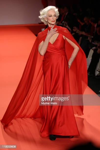 Carmen Dell'Orefice wearing Red Dress Collection Fall 2005