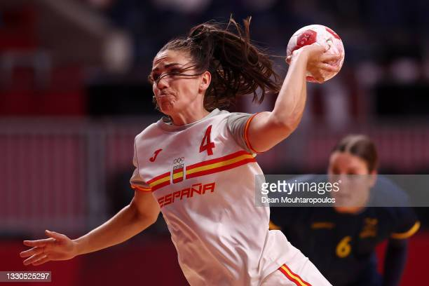 Carmen Dolores Martin Berenguer of Team Spain shoots and scores a goal during the Women's Preliminary Round Group B match between Spain and Sweden on...