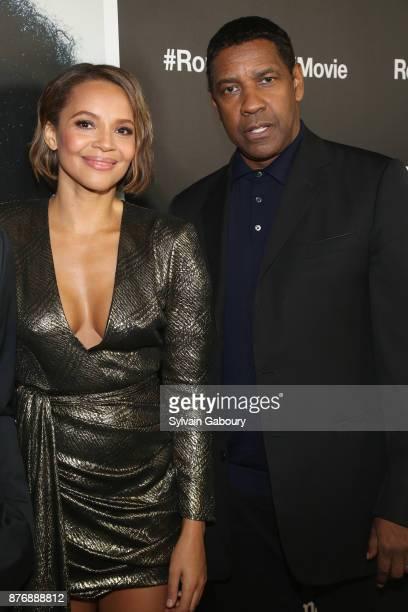Carmen Ejogo and Denzel Washington attend Roman J Israel Esquire New York Premiere on November 20 2017 in New York City