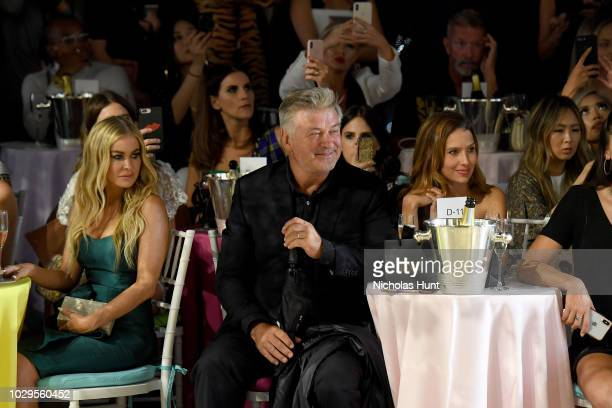 Carmen Electra Alec Baldwin and Hilaria Baldwin attend the Badgley Mischka Spring 2019 Runway Show during New York Fashion at Gallery I at Spring...