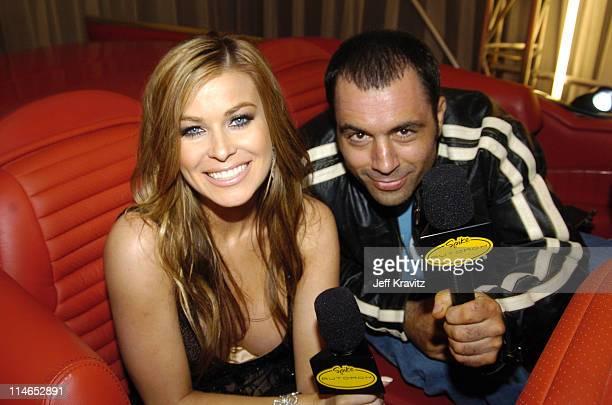 Carmen Electra and Joe Rogan during Spike TV's 1st Annual Autorox Awards Backstage at Barker Hanger in Santa Monica California United States