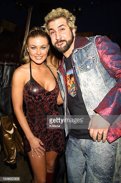 Carmen Electra and Joey Fatone during The 28th Annual American Music Awards Columbia Records After Party at Las Palmas in Hollywood California United...