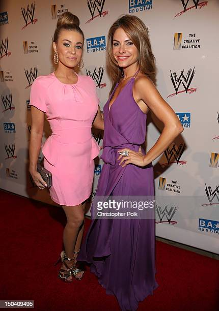 Carmen Electra and TV personality Maria Menounos attend the WWE SummerSlam VIP Kick-Off Party at Beverly Hills Hotel on August 16, 2012 in Beverly...