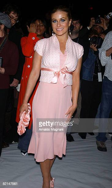 Carmen Electra attends the Luca Luca Fall 2005 during Olympus Fashion Week at Bryant Park February 6 2005 in New York City