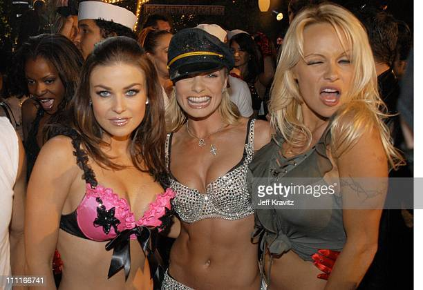 Carmen Electra Jaime Pressly and Pamela Anderson during The Official Launch Party For Spike TV At The Playboy Mansion Inside at The Playboy Mansion...