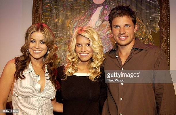 Carmen Electra Jessica Simpson and Nick Lachey during Jessica Simpson and Nick Lachey Perform on MTV's TRL and Promote Their New Reality Show...