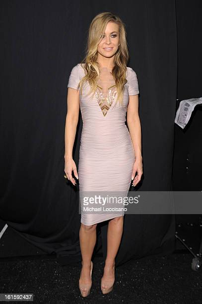 Carmen Electra poses backstage at the Badgley Mischka Fall 2013 fashion show during MercedesBenz Fashion Week at The Theatre at Lincoln Center on...