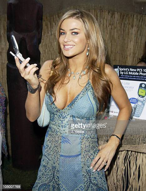 Carmen Electra with a Sprint and LG mobile phone during The 2002 Teen Choice Awards - Backstage Creations Talent Retreat - Day 2 at Universal...