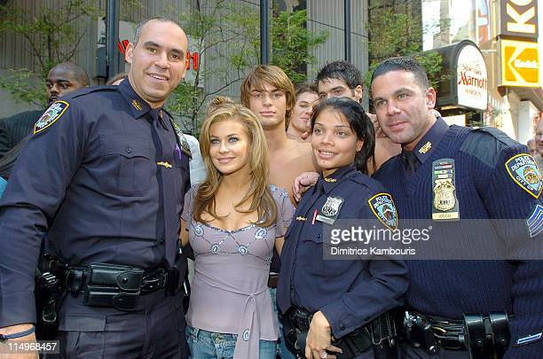 Carmen Electra with New York City Police Officers during Bravo Launches Manhunt The Search for America's Most Gorgeous Male Model with Host Carmen...