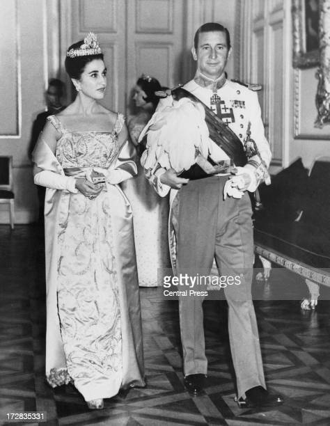 Carmen Franco 1st Duchess of Franco with her husband Cristobal MartinezBordiu 10th Marquis of Villaverde attend a banquet given by the Belgian...
